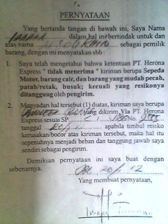 Surat Pernyataan Pengiriman dari PT. Herona Express